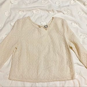 Tops - Cream embroidered top
